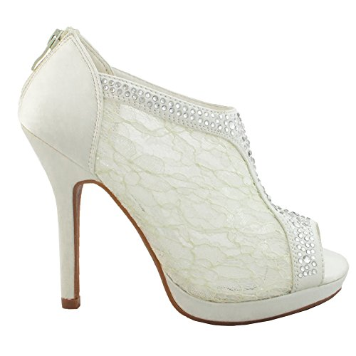 TRENDS SNJ Women's Lace High Heel Crystals Platform Peep toe Shootie (Bridal Shoes Ivory compare prices)