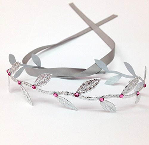 Silver Leaf Wrap Band With Pink Swarovski Crystals front-122827