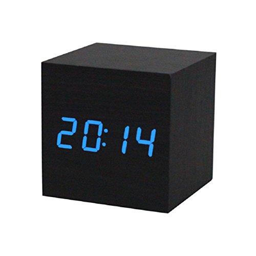 Lowpricenice Creative Digital LED Black Wooden Wood Desk Alarm Brown Clock Voice Control Blue