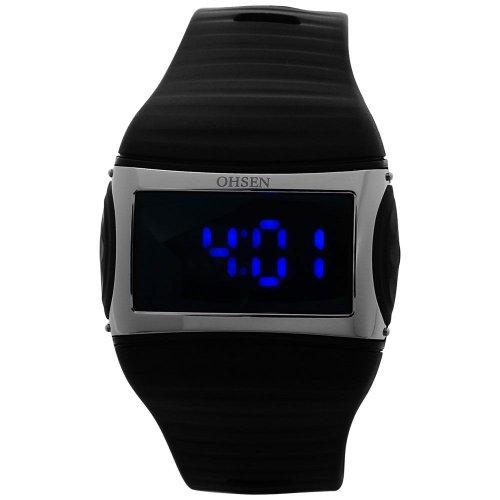 OHSEN Black Band Blue Led Mens Ladies Sport Wrist Watch
