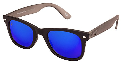 Vincent Chase VC 5147 Matte Black Grey Blue Mirror C5 Wayfarer Sunglasses (105672)