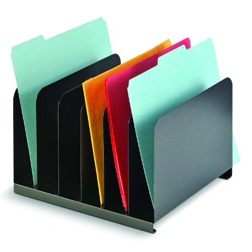 Vertical Desktop File Organizer 6 Compartment Steel