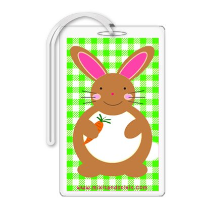 Green Gingham Baby Diaper Bag Tag