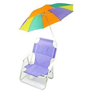 Redmon For Kids Pre-teen Beach Chair With Multiple Colored Umbrella Purple by RedmonUSA