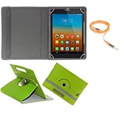 Gadget Decor (TM) PU LEATHER Rotating 360° Flip Case Cover With Stand For Anwyn AERO-AW-T702  + Free Aux Cable -Green