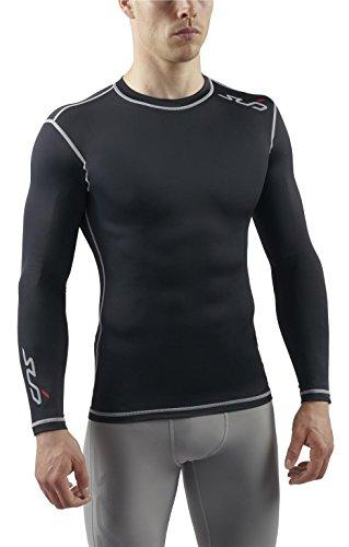 SUB Sports DUAL Mens Compression Top - Long Sleeve All Season Base Layer - Black - S