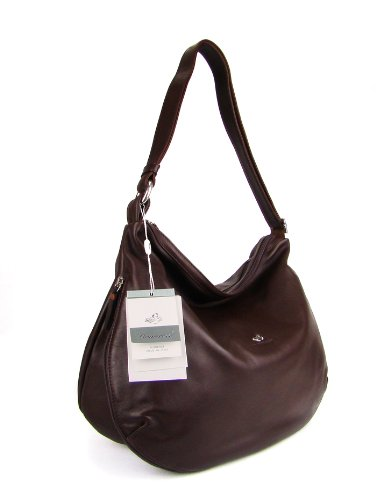 BRUNO ROSSI Italian Brown Leather Shoulder Bag Cross-body Hobo Bag