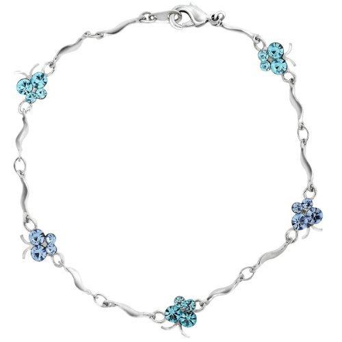 Neoglory Jewelry Butterfly Blue Crystal Charm Bangle Bracelet
