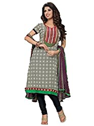Bipson Women's Cotton Unstitched Dress With Dupatta [1622A_Grey_Free Size]