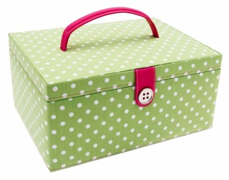 Buy Button It| Country Floral large green polka dot sewing box with cream floral lining
