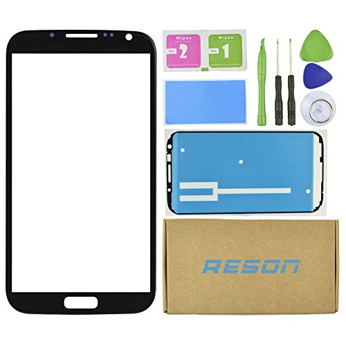 Note 2 Screen Replacement,Reson® Black Replacement Screen Glass Lens for SamSung Galaxy Note 2 II N7100 i317 L900 i605 T889+Tools Kit+dry/wet/dust Cleaning Paper+adhesive Sticker Tape (Kit Repair Samsung Note 2 compare prices)