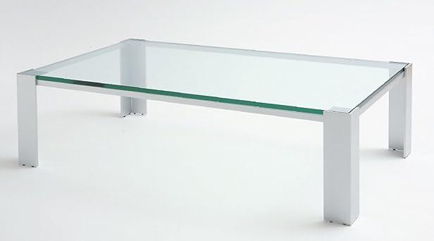 Tavolo da saotto Albireo - Cm 130 x 70 x h.33 - Colore: Verniciato Cromo - Piano in vetro - 100% MADE IN ITALY -