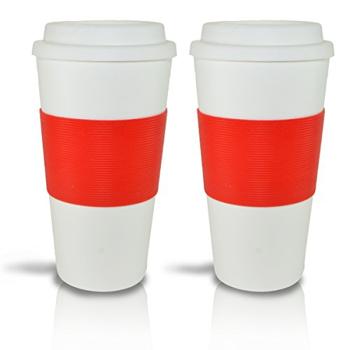 2 Pcs Set of 16 Ounce Coffee Cups, Travel To-go Mugs, With Lid & Comfort Grip Eco-friendly Reusable. (Coffee Cup With Lid Reusable 16oz compare prices)