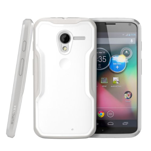 Moto X Phone Case, SUPCASE Unicorn Beetle Series Premium Hybrid Protective Bumper Case for Motorola Moto X Phone, White/Gray [Free HD Clear Screen Protector, Bubble Free Installation Instruction Included] (Bubble Pack Case compare prices)