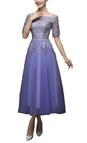 Fanhao Women's Lace Half Sleeves Tea Length Long Evening Prom Dress,Lavender,L