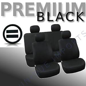 PREMIUM BLACK Universal Car Seat Covers Full Set 13pc Free Bonus Steering Wheel & Shoulder Pads from Unique Imports