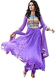 Purple Anarkali gown with Emboidery