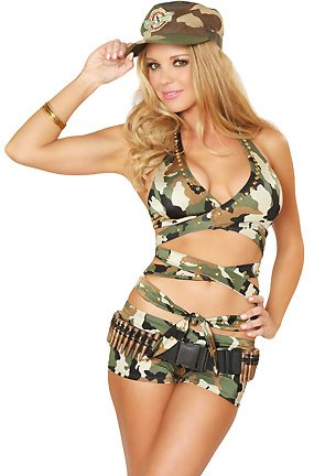 3WISHES 'Militia Babe Costume' Sexy Military Camouflage Costumes