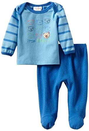 ABSORBA Baby-Boys Newborn Footed Pant Set, Blue, 0-3 Months
