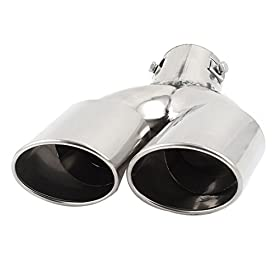 Dual Angled Stainless Steel Weld-on Exhaust Muffler Tip Silver Tone