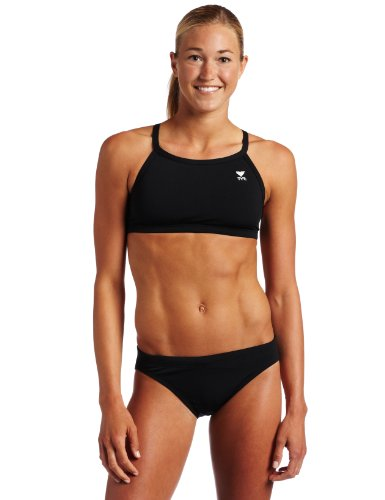TYR Sport Women's Solid Durafast Diamondback Workout Bikini,Black,Medium image