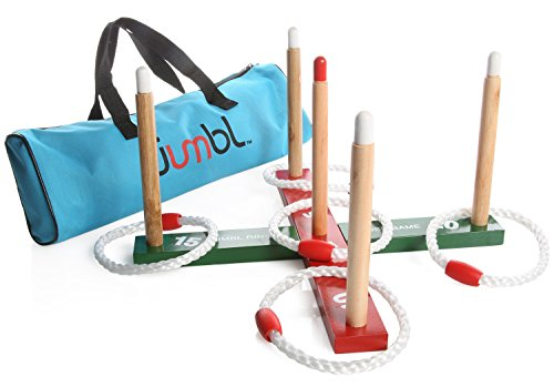Jumbl-Ring-Toss-Quoits-Game-For-Kids-and-Adults-Includes-Wooden-Ring-Toss-Target-Rack-5-Rings-and-Carry-Bag