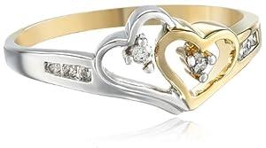 14k Two-Tone Diamond Heart Ring (1/10 cttw), Size 8