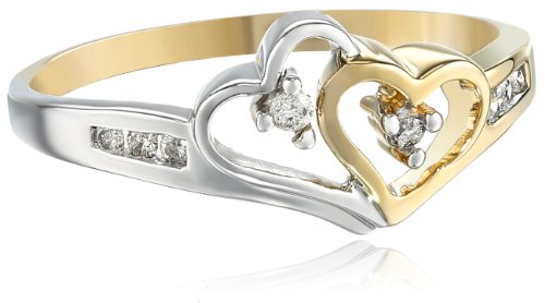 14k Two-Tone Diamond Heart Ring (1/10 cttw), Size 8