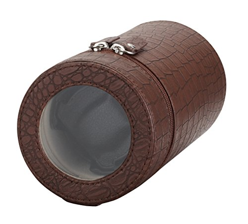 Diplomat Diplomat Brown Crocodile Print Leatherette Single Travel Watch Winder with Smart Internal Bi-Directional Timer Control, Battery/AC Powered