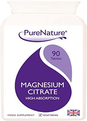 Magnesium Citrate High Absorption & Strength with Added Calcium / 90 One-a-Day Vegetarian Tablets Made in UK for PureNature |100% QUALITY ASSURED MONEY BACK GUARANTEE + SUPER SAVER PRICE + FREE UK DELIVERY from Distributed by Be-Beautiful-Online