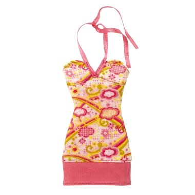 Barbie Fashion Peach Print Sundress Ribbon on the Neck - 1