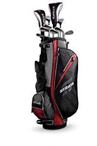 Strata Men's Complete Golf Set with Bag, 13-Piece (Right Hand, Red, Driver, Fairway, Hybrids, Irons, Putter)
