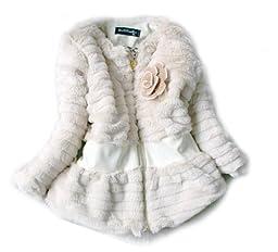 SOPO Baby Girls Lace Flower Faux Fur Winter Jacket Outerwear Coat 4-6Y Beige