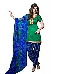 Green Cotton Floral Print Salwar Kameez Dress Material
