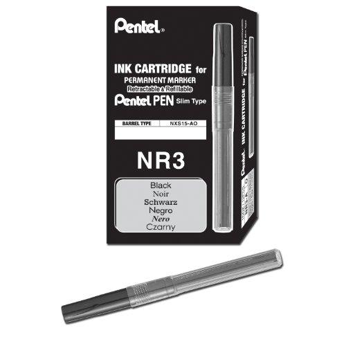 Pentel Recharge d'encre pour Handy lignes marqueurs indélébiles Encre Noire, Boite de 12 (NR3-A)