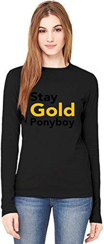 Stay Gold Ponyboy Slogan T-Shirt da Donna a Maniche Lunghe Long-Sleeve T-shirt For Women  100% Premium Cotton  DTG Printing  XX-Large
