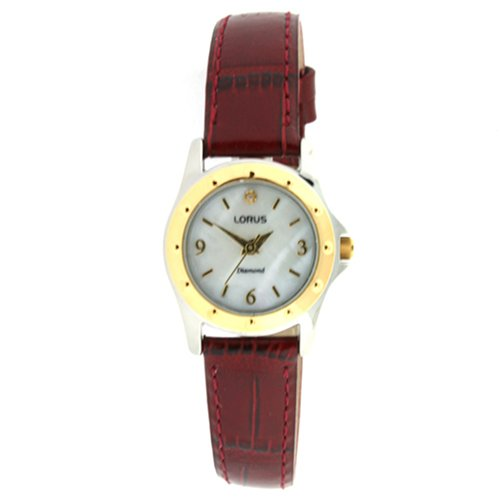 Lorus Watch Diamonds Leather Band Ladies LR3344WML Sale New Model