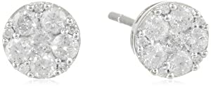 10K White Gold Diamond Stud Earrings (.5 Cttw, G-H Color, I2-I3 Clarity) from Delmar Mfg LLC