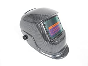 Auto-Darkening Solar Powered MIG Welding Helmet TIG Welder Shield Mask (Carbon Fiber Titanium)