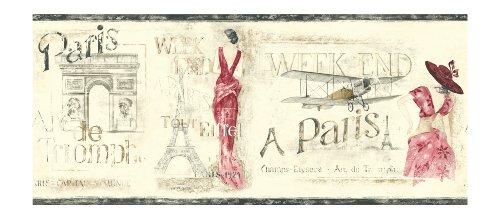 York Wallcoverings Europa Ii Weekend In Paris Prepasted Border, Cream/Cranberry/Grey/Tan front-346999