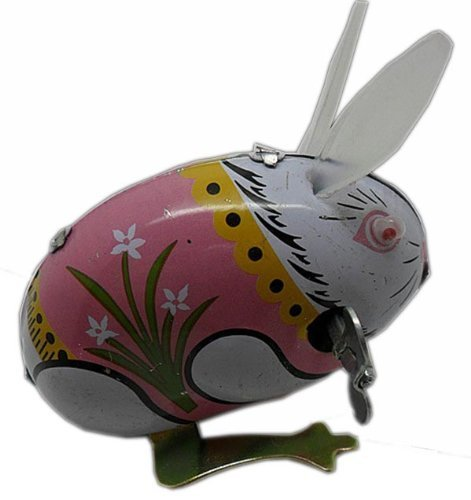 LittleTiger RABBIT BROTHERS - 2pcs Vintage Jumping Rabbit Wind UP Tin Toy clockwork retro gift