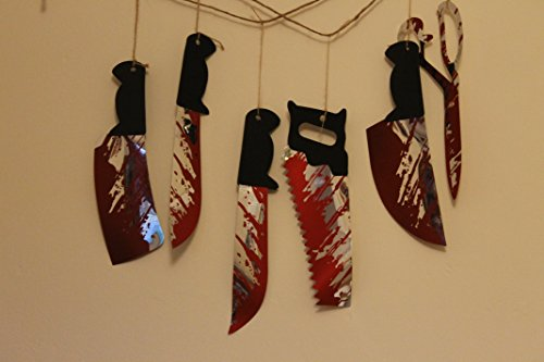 1.8m Hanging Knives Garland - 6pc On String - Use In Windows, Walls, Fireplace, Etc -halloween Bloody Weapons Prop Decoration Blood By Itp