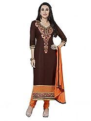 SR Women's Cotton Unstitched Dress Material (Coffy Top Orange Bottom Duptta)
