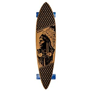 Strght Pin Tail Cruiser Skateboard in Bamboo with Wolves Design (Black, 34 x 7.5-Inch)