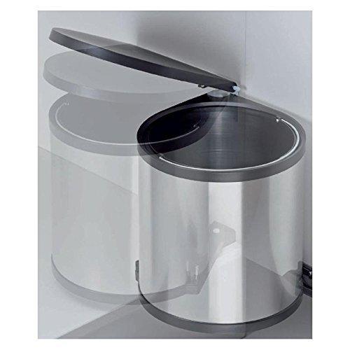 Einbau-Abfallsammler-Kcheneimer-15-Liter-rund-Silber-Optik-schwenkbar-fr-Schranktren-ab-40-cm-Schrankbreite-Unterschrnke-Mlleimer-Kche-WESCO