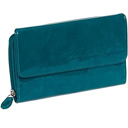 Mundi Womens My Big Fat Clutch Wallet w/ Calculator (Glossy Teal)