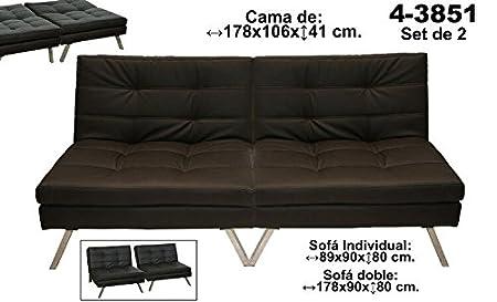 DonRegaloWeb - Sofá cama doble con estructura metálica tapizado con polipiel en color marrón