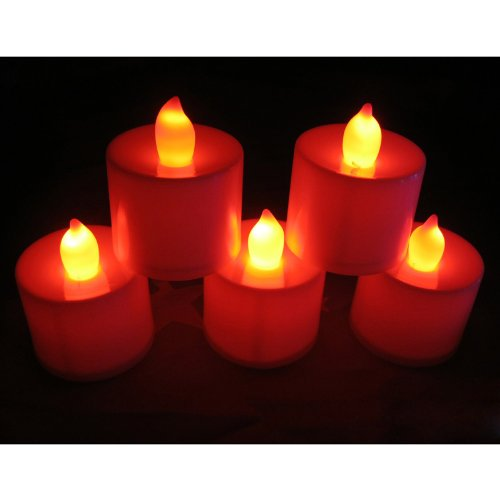 Led-Cube® New Led Tea Light Wedding Party Flameless Candle,White With Amber Flame,Battery Operated Flickering Tealights, Wedding Floral Decoration Party Tea Light (40, Red)