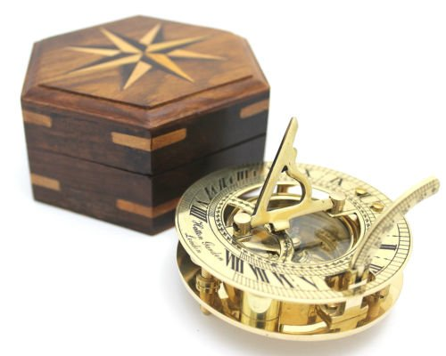 solid-brass-sundial-and-compass-in-hardwood-box-polished-brass-sundial-compass