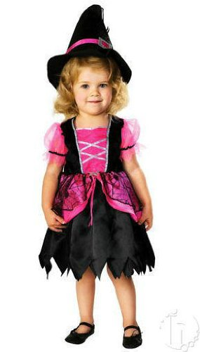 Pretty Pink Witch Toddler Kids Halloween Costume - Dress with Cape, Witch Hat